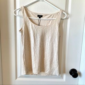 NWT Talbots Sequin Tank Top in Cream Color